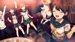 1boy 4girls :d ^_^ alcohol amagi_yukiko arm_up beer beer_mug black_footwear black_pants blue_headwear blush breasts brown_eyes brown_hair checkered checkered_floor closed_eyes clothes_around_waist collared_shirt couch cup dress_shirt drunk flower green_jacket grey_skirt hat highres indoors jacket jacket_around_waist kujikawa_rise kuma_(persona_4) long_hair misaki_nonaka mug multiple_girls neckerchief nose_blush on_couch open_clothes open_jacket open_mouth pants peaked_cap persona persona_4 pleated_skirt red_flower red_jacket red_rose rose satonaka_chie school_uniform serafuku shirogane_naoto shirt shoes short_hair short_sleeves sitting skirt small_breasts smile socks table twintails very_long_hair white_legwear white_shirt yellow_neckwear