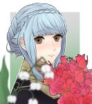 1girl artist_name blue_hair bouquet braid brown_eyes closed_mouth commentary_request crown_braid epaulettes eyebrows_visible_through_hair fire_emblem fire_emblem:_three_houses flower garreg_mach_monastery_uniform highres holding holding_flower looking_at_viewer marianne_von_edmund oby_lt red_flower red_rose rose short_hair short_hair_with_long_locks signature smile solo uniform white_flower