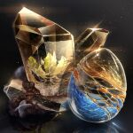 black_background cluseller commentary_request crystal gem glint light_particles no_humans original partial_commentary reflection rock sapphire_(gemstone) shiny simple_background still_life topaz_(gemstone)