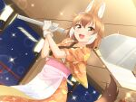 1girl :d absurdres alternate_costume animal_ear_fluff animal_ears apron argyle argyle_kimono bangs brown_eyes brown_hair commentary_request dhole_(kemono_friends) dog_ears dog_tail extra_ears gloves hair_between_eyes highres indoors japanese_clothes kemono_friends kimono looking_at_viewer medium_hair night obi object_request open_mouth orange_kimono sash shiraha_maru signature smile solo sparkle tail upper_teeth waist_apron white_gloves
