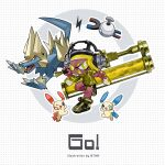 1girl blonde_hair btmr_game crossover dark_skin dynamo_roller_(splatoon) fangs gen_1_pokemon gen_3_pokemon gold_footwear gold_jacket headphones highres holding inkling jacket long_sleeves magnemite manectric minun one_eye_closed plusle pokemon pokemon_(creature) sharp_teeth shoes shorts simple_background sneakers splatoon_(series) symbol-shaped_pupils teeth tentacle_hair yellow_eyes