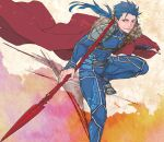 1boy abs armor beads blue_hair bodysuit cape cu_chulainn_(fate)_(all) earrings fate/stay_night fate_(series) fur-trimmed_cape fur_trim gae_bolg hair_beads hair_ornament holding holding_polearm holding_weapon jewelry lancer long_hair male_focus pauldrons polearm ponytail red_eyes shoulder_armor skin_tight smile solo spiky_hair type-moon weapon yanami