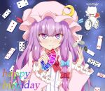 1girl bicycle blue_bow blue_eyes blue_ribbon blush bow bowtie capelet card cat commentary_request crescent crescent_moon_pin eyebrows_visible_through_hair gradient_eyes ground_vehicle hair_bow happy_birthday hat hat_ribbon looking_at_viewer mob_cap multicolored multicolored_eyes partial_commentary patchouli_knowledge pink_eyes playing_card poker_chip rainbow_text red_bow red_neckwear red_ribbon ribbon riding_bicycle seo_haruto slit_pupils smile sparkle striped_clothes touhou translation_request upper_body violet_eyes watermark wide_sleeves
