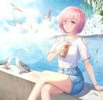 1girl bangs bird blue_shorts bracelet cat_eye_(pixiv15946433) clothing_cutout collarbone crossed_legs day denim denim_shorts dress_shirt drinking_straw eyebrows_visible_through_hair fate/grand_order fate_(series) hair_between_eyes holding jewelry mash_kyrielight ocean outdoors parted_lips pink_eyes pink_hair shiny shiny_hair shiny_skin shirt short_hair short_shorts short_sleeves shorts shoulder_cutout sitting solo white_shirt
