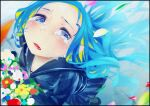 1girl black_border black_footwear blonde_hair blue_eyes blue_hair blue_sailor_collar blue_shirt blue_skirt blue_theme blush border bouquet child cluseller colored_inner_hair crying english_commentary flat_chest flower forehead from_above full_body half-closed_eyes holding long_hair long_sleeves looking_at_viewer looking_up miniskirt multicolored_hair open_mouth original petals pleated_skirt red_flower sad sailor_collar school_uniform serafuku shirt shoes skirt solo standing tears tongue two-tone_hair white_flower wind yellow_flower