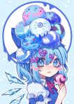 (9) 1girl blue_background blue_eyes blue_hair blush cirno food hair_ornament heart highres holding holding_food ice ice_cream ice_cream_cone ice_wings kyouda_suzuka looking_at_viewer melting neck_ribbon outline ribbon sleeve_bow solo sprinkles tongue tongue_out touhou upper_body white_outline wings