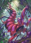 commentary_request day forest gen_5_pokemon highres light_beam looking_at_viewer looking_back nature no_humans outdoors pokemon pokemon_(creature) scolipede shiny shiny_skin solo sparkle supearibu tree yellow_eyes