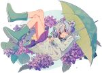 1girl absurdres blue_hair boots bow flower hair_bow hair_bun highres hood hydrangea ka_(marukogedago) miniskirt open_mouth original raincoat rubber_boots skirt solo umbrella violet_eyes