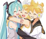 1boy 2girls aqua_eyes aqua_hair aqua_neckwear arm_warmers bangs bare_shoulders black_collar black_sleeves blonde_hair bow collar commentary crop_top detached_sleeves doodle grey_shirt hair_bow hair_ornament hairclip hatsune_miku headphones highres kagamine_len kagamine_rin long_hair m0ti multiple_girls necktie sailor_collar school_uniform shirt short_hair short_ponytail shoulder_tattoo sleeveless sleeveless_shirt spiky_hair swept_bangs tattoo twintails upper_body very_long_hair vocaloid white_bow white_shirt yellow_neckwear