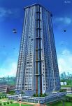 artist_name blue_sky building cityscape commentary_request flying_car grass hai_to_hickory highres no_humans original scenery sky skyscraper tagme tree