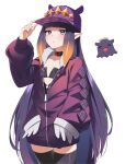 1girl absurdres adapted_costume animal_ears baseball_cap black_choker black_legwear black_shirt blue_eyes casual choker contemporary flat_chest hand_in_pocket hand_on_headwear hand_up hat highres hippopotamus_ears hololive hololive_english jacket long_hair mofumancy mole mole_under_eye ninomae_ina'nis open_clothes open_jacket parted_lips pointy_ears purple_hair purple_jacket shirt sidelocks simple_background solo tako_(ninomae_ina'nis) tentacle_hair thigh-highs tsurime very_long_hair virtual_youtuber white_background