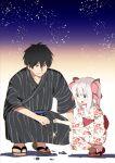 1boy 1girl :d black_kimono blue_eyes blue_sash bow child dale_lecky fireworks floral_print hair_bow highres hota japanese_clothes kimono latina_(uchi_no_musume_no_tame_naraba) looking_at_viewer medium_hair obi open_mouth red_bow red_sash sandals sash smile sparkler squatting twintails uchi_no_musume_no_tame_naraba_ore_wa_moshikashitara_maou_mo_taoseru_kamo_shirenai. white_kimono