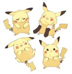 :3 black_eyes commentary_request facing_down gen_1_pokemon grey_background hands_up happy long_sleeves looking_at_viewer multiple_views newo_(shinra-p) open_mouth pikachu pokemon pokemon_(creature) sad simple_background smile solo_focus