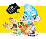 1boy 1girl blue_eyes blue_hair breasts btmr_game closed_eyes domino_mask drooling eating food green_hair headphones holding holding_food inkling inkling_(language) jacket long_hair long_sleeves mask octoling open_mouth shirt short_sleeves signature speech_bubble splatoon_(series) splatoon_2 two-tone_background white_shirt