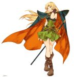 1girl bangs belt blonde_hair blue_cape breastplate brown_footwear cape circlet closed_mouth deedlit dot_nose dress full_body green_dress green_eyes hand_up highres kotatsu_(g-rough) long_hair orange_cape parted_bangs pointy_ears record_of_lodoss_war shoes short_dress signature simple_background smile solo standing two-sided_cape two-sided_fabric white_background