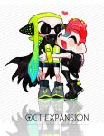 1boy 1girl backpack bag bangs black_cape black_legwear btmr_game cape closed_eyes copyright_name domino_mask green_hair headphones heart hug inkling jacket long_sleeves mask octoling open_mouth pointy_ears redhead signature simple_background smile splatoon_(series) splatoon_2 splatoon_2:_octo_expansion standing striped striped_background tentacle_hair thigh-highs