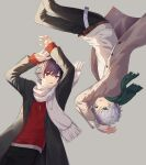 2boys arms_up bangs black_hair black_jacket black_pants brown_jacket commentary_request copyright_request eyebrows_visible_through_hair fringe_trim green_eyes green_scarf grey_background hair_between_eyes highres jacket long_sleeves looking_at_viewer male_focus minamoto_mamechichi multiple_boys official_art open_clothes open_jacket pants parted_lips plaid red_eyes red_sweater scarf silver_hair simple_background sleeves_past_wrists sweater white_scarf white_sweater