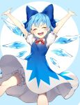 1girl arms_up bloomers blue_bow blue_dress blue_hair bow cirno closed_eyes collared_shirt commentary_request dress feet_out_of_frame flat_chest hair_bow highres jill_07km light_blue_background neck_ribbon open_mouth puffy_short_sleeves puffy_sleeves red_ribbon ribbon shirt short_hair short_sleeves simple_background smile solo touhou two-tone_background underwear upper_teeth v-shaped_eyebrows white_background white_shirt
