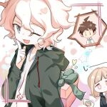 1boy 1girl :d ahoge arm_behind_back bangs black_jacket chibi commentary_request danganronpa eyebrows_visible_through_hair gift green_jacket hinata_hajime holding holding_gift hood hooded_jacket hoodie index_finger_raised jacket komaeda_nagito light_brown_hair long_sleeves looking_at_viewer midou_(grk12138) nanami_chiaki necktie one_eye_closed open_clothes open_jacket open_mouth pink_ribbon ribbon shirt smile spoken_character star_(symbol) star_print super_danganronpa_2 upper_body white_shirt