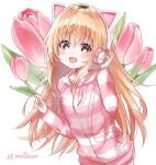 1girl blonde_hair cable cat_ear_headphones drawstring floral_background flower hand_on_headphones hands_up headphones highres hood hood_down hoodie horizontal_stripes ienaga_mugi leaf long_hair long_sleeves looking_at_viewer milluun nijisanji open_mouth paw_print_pattern pink_stripes simple_background smile solo striped tulip twitter_username very_long_hair virtual_youtuber white_background yellow_eyes