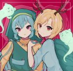 2girls antlers apron aqua_hair bangs blue_shirt commentary drop_shadow english_commentary green_headwear hand_on_another's_shoulder haniyasushin_keiki harukim_(kimharu606) head_scarf highres kicchou_yachie long_hair looking_at_viewer looking_back magatama_necklace multiple_girls open_mouth otter_spirit_(touhou) puffy_sleeves red_background red_eyes shirt short_hair touhou turtle_shell upper_body violet_eyes yellow_shirt