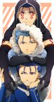 3boys angry armor blue_hair bodypaint capelet chin_rest closed_mouth crossed_arms cu_chulainn_(fate)_(all) cu_chulainn_alter_(fate/grand_order) dark_persona earrings elbow_gloves facepaint fang fangs fate/grand_order fate/stay_night fate_(series) frown fuji121 fur fur-trimmed_hood fur_trim gloves grin highres hood hood_up hooded_capelet jewelry lancer looking_at_viewer looking_to_the_side male_focus multiple_boys multiple_persona pauldrons red_eyes shoulder_armor skin_tight smile spiky_hair type-moon