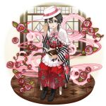 1girl adjusting_eyewear alternate_costume asada_shino black_footwear book boots bow brown_hair capelet faux_figurine floral_print frilled_capelet frills full_body glasses hair_ribbon hakama hat hat_bow highres holding japanese_clothes kimono lolita_fashion long_sleeves official_art open_book open_mouth pink_bow print_hakama print_kimono red_hakama ribbon rimless_eyewear shiny shiny_hair short_hair_with_long_locks sidelocks sitting solo striped striped_bow striped_kimono sword_art_online sword_art_online:_memory_defrag transparent_background white_capelet white_headwear white_ribbon wide_sleeves