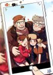 1girl 3boys ;d brown_eyes brown_hair cellphone dipper_pines facial_hair glasses gravity_falls grey_hair hairband hand_on_another's_shoulder hat heart jacket mabel_pines multiple_boys old_man one_eye_closed open_mouth phone skirt smartphone smile stanford_pines stanley_pines stubble sweater turtleneck turtleneck_sweater vest yway1101