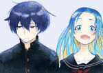 1boy 1girl bangs black_jacket black_sailor_collar black_serafuku black_shirt blonde_hair blue_background blue_hair blush closed_mouth cluseller collarbone colored_inner_hair commentary english_commentary engrish_commentary fang forehead gradient_hair hair_between_eyes hair_intakes jacket looking_at_viewer looking_away looking_to_the_side multicolored_hair neckerchief open_mouth original red_neckwear sailor_collar school_uniform serafuku shiny shiny_hair shirt short_hair simple_background skin_fang teeth upper_body