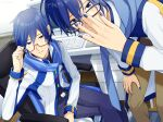 2boys adjusting_eyewear belt bespectacled blue_eyes blue_hair blue_nails blue_pants blue_scarf brown_pants cabinet chair coat commentary computer desk dual_persona glasses hand_on_own_knee indoors kaito kaito_(vocaloid3) keyboard_(computer) leaning_forward looking_at_viewer male_focus mouse_(computer) mousepad_(object) multiple_boys nokuhashi office_chair pants parted_lips red-tinted_eyewear scarf semi-rimless_eyewear sitting smile standing vocaloid white_coat wooden_floor