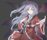 1girl blue_eyes breasts bright_pupils capelet dress eyebrows_visible_through_hair grey_background hair_between_eyes hair_bobbles hair_ornament hegata_(hegatia_lapis) highres long_hair medium_breasts one_side_up parted_lips red_dress shinki silver_hair simple_background sleeves_past_elbows smile solo standing touhou tsurime turtleneck upper_body wide_sleeves wings
