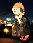 1girl :d blonde_hair blush braid covering_mouth fireworks flower greyscale hair_flower hair_ornament hair_over_shoulder hand_over_own_mouth hand_up highres holding hota latina_(uchi_no_musume_no_tame_naraba) long_sleeves monochrome open_mouth red_flower sandals smile solo sparkler squatting summer_festival twin_braids uchi_no_musume_no_tame_naraba_ore_wa_moshikashitara_maou_mo_taoseru_kamo_shirenai.