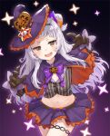 1girl :d black_gloves black_shirt bow bowtie capelet cowboy_shot crop_top gloves gradient gradient_background hairband halloween hat hololive long_hair long_sleeves looking_at_viewer midriff miniskirt murasaki_shion navel open_mouth orange_eyes pensuke purple_background purple_headwear purple_skirt shirt skirt smile solo striped striped_shirt thigh_strap v-shaped_eyebrows white_hair witch_hat