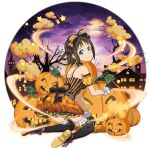 1girl ankle_bow black_gloves black_legwear blue_eyes bow bracelet brown_hair choker closed_mouth detached_sleeves full_body full_moon gloves hair_bow halloween halloween_costume head_tilt high_heels highres jewelry kneeling layered_skirt leaning_forward looking_at_viewer looking_back miniskirt moon official_art orange_skirt pleated_skirt pumpkin purple_bow purple_sky ronye_arabel shiny shiny_hair shirt short_hair short_sleeves shoulder_blades skirt sleeveless sleeveless_shirt smile solo spaghetti_strap striped striped_bow striped_shirt sword_art_online sword_art_online:_memory_defrag thigh-highs transparent_background twintails vertical-striped_shirt vertical_stripes yellow_sleeves zettai_ryouiki