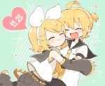1boy 1girl arm_warmers bangs black_collar black_shorts blonde_hair bow brother_and_sister cheek-to-cheek closed_eyes collar date_pun dated good_twins_day grey_collar grey_shorts grey_sleeves hair_bow hair_ornament hairband hairclip hug kagamine_len kagamine_rin mutual_hug najo necktie number_pun open_mouth sailor_collar school_uniform shirt short_hair short_ponytail short_sleeves shorts siblings smile sparkle spiky_hair swept_bangs twins twitter_username vocaloid white_bow white_shirt yellow_neckwear