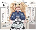 1girl bangs blonde_hair blue_shirt blush breast_pocket breasts cellphone closed_eyes collared_shirt commentary eyebrows_visible_through_hair gambier_bay_(kantai_collection) gloves hairband highres holding holding_phone kantai_collection konoshige_(ryuun) large_breasts long_hair multicolored multicolored_clothes multicolored_gloves partially_translated phone pocket shirt short_sleeves shorts smartphone solo speech_bubble translation_request twintails upper_body