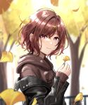 1girl autumn_leaves blurry blurry_background brown_eyes brown_hair commentary_request ginkgo_leaf hair_ornament hairclip highres higuchi_madoka holding holding_leaf hood hoodie idolmaster idolmaster_shiny_colors jacket junshiki leaf looking_at_viewer mole_on_cheek short_hair signature solo tree