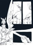 2girls animal_ears asahi_(uwa) hammer holding holding_hammer kishin_sagume legacy_of_lunatic_kingdom monochrome multiple_girls rabbit_ears seiran_(touhou) single_wing touhou wings
