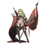 1girl armor armored_boots bangs boots breastplate character_name choker eyebrows_visible_through_hair fingerless_gloves flag full_body girls_frontline gloves green_hair gun hair_ornament heart heart-shaped_pupils knight long_hair low-tied_long_hair medieval mk48 mk48_(girls_frontline) official_art red_eyes sa_(h28085) sling solo standing strap symbol-shaped_pupils thigh_strap transparent_background weapon weapon_on_back yellow_pupils