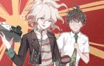 2boys ahoge bangs black_jacket breast_pocket brown_hair cake chain collar collared_shirt commentary_request cropped_jacket danganronpa food green_eyes green_neckwear grey_eyes grey_hair highres hinata_hajime holding holding_chain holding_tray jacket komaeda_nagito long_sleeves looking_at_viewer male_focus messy_hair metal_collar midou_(grk12138) monokuma multiple_boys necktie open_mouth orange_background pocket red_background shaded_face shirt short_sleeves smile striped striped_shirt super_danganronpa_2 tray upper_body white_shirt