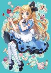 1girl :q ace_of_clubs ace_of_hearts alice_(wonderland) alice_in_wonderland apron bangs black_footwear black_ribbon blonde_hair blue_background blue_dress braid breasts card closed_mouth clothing_cutout club crown cup cupcake dress drink_me eyebrows_visible_through_hair floral_background food food_on_face fork frilled_apron frills fruit full_body green_eyes hair_ribbon hands_up heart heart_cutout high_heels holding holding_fork key long_hair medium_breasts mini_crown playing_card puffy_short_sleeves puffy_sleeves ribbon shoes short_sleeves smile solo spoon strawberry striped striped_legwear teapot thigh-highs tilted_headwear tongue tongue_out very_long_hair weapon white_apron yamabukiiro