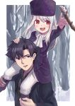 1boy 1girl :d absurdres arm_up bangs black_coat black_hair black_neckwear black_shirt blush coat collared_shirt dress_shirt emiya_kiritsugu eyebrows_visible_through_hair fate/stay_night fate_(series) father_and_daughter floating_hair hair_between_eyes hand_on_another's_head hat highres illyasviel_von_einzbern kaikaiseisei999 long_hair necktie no_pupils open_mouth pants purple_coat purple_headwear red_eyes scarf shirt silver_hair smile violet_eyes white_pants white_scarf wing_collar winter