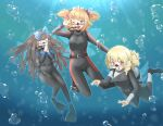 3girls air_bubble arnest bangs black_hair blonde_hair blue_eyes breasts bubble closed_eyes commission diving_mask diving_regulator drill_hair eyebrows_visible_through_hair fairy_wings flippers long_hair looking_at_viewer luna_child medium_breasts medium_hair multiple_girls orange_hair red_eyes scuba scuba_gear scuba_tank skeb_commission star_sapphire sunny_milk touhou underwater v wetsuit wings