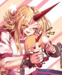 1girl arms_up blonde_hair blush_stickers chain character_doll closed_eyes commentary commission cuffs doll fang fingernails holding holding_doll horns hoshiguma_yuugi long_hair nail_polish open_mouth puffy_short_sleeves puffy_sleeves red_nails shackles shirt short_sleeves single_horn smile solo star_(symbol) striped striped_background sunyup touhou upper_teeth very_long_hair white_shirt