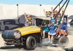 6+girls :d absurdres american_flag_dress black_hair blonde_hair blue_bow blue_dress blue_eyes blue_sky bow bowtie car chanta_(ayatakaoisii) cirno closed_mouth clownpiece collared_shirt daiyousei day dress driving dust gachimuchi green_hair ground_vehicle hair_bow hair_ornament hand_up hat hat_bow highres ice junkyard_boyz lily_white long_hair looking_at_viewer luna_child motor_vehicle multiple_girls one_side_up open_mouth orange_hair outdoors red_bow red_neckwear sanpaku shirt sitting sketch sky smile standing star_sapphire sunny_milk sweatdrop touhou twintails v white_dress white_footwear white_headwear white_shirt wide-eyed wings