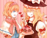 2girls alice_margatroid bad_id blonde_hair blue_eyes cake dada_(dolce) eating food fork fruit kirisame_marisa long_hair multiple_girls pastry strawberries strawberry tongue touhou