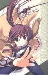animal_ears blue_eyes head_wings highres long_hair ponytail purple_hair scan sword touka touka_(utawareru_mono) utawareru_mono utawarerumono weapon