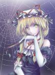 bare_shoulders blonde_hair bow closed_fan elbow_gloves fan folding_fan gloves hair_bow hat ribbon spider_web spiderweb touhou yakumo_yukari yellow_eyes