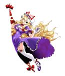 bangs black_eyes blonde_hair bow breasts cleavage dress erect_nipples gap gloves grin hair_bow hat hat_ribbon head_tilt high_heels hips impossible_clothes impossible_dress kobayashi_tetsuya legs long_hair looking_at_viewer pointing pointing_at_viewer puffy_sleeves purple_dress ribbon shoes simple_background skindentation smile solo thighhighs thighs touhou very_long_hair white_background white_legwear wide_hips yakumo_yukari