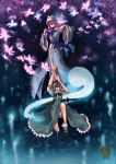 butterflies danmaku fan floating folding_fan highres hitodama kong_xian konpaku_youmu konpaku_youmu_(ghost) myon pickles ripples saigyouji_yuyuko sword touhou weapon